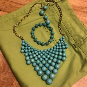 Turquoise Color Jewelry Set with Box